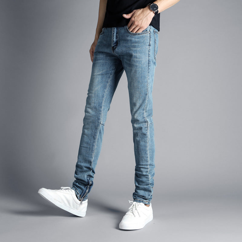abe05573e3c Streetwear Men s Jeans Blue Color Hip Hop Skinny Jeans Stretch Denim P –  Costbuys