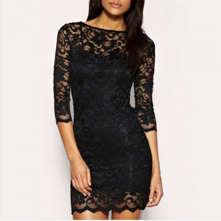 Women Winter Dress Sexy Black Floral Lace Dress Long Sleeve Bodycon