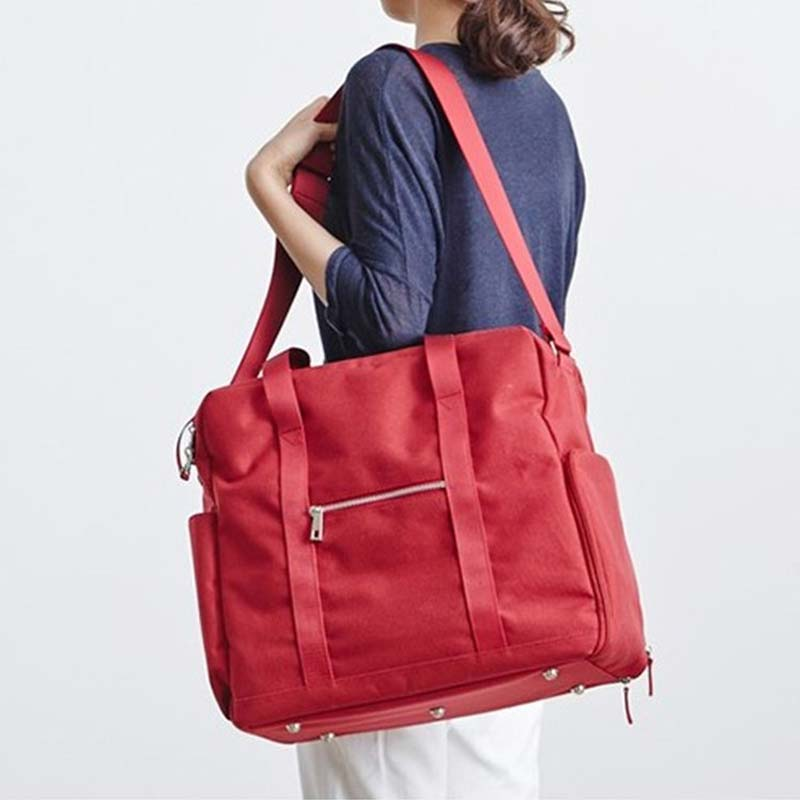 Costbuys  Fashion Waterproof Travel Bag Large Capacity Bag Women Oxford Folding Bag Unisex Luggage Travel Man Handbags - RED