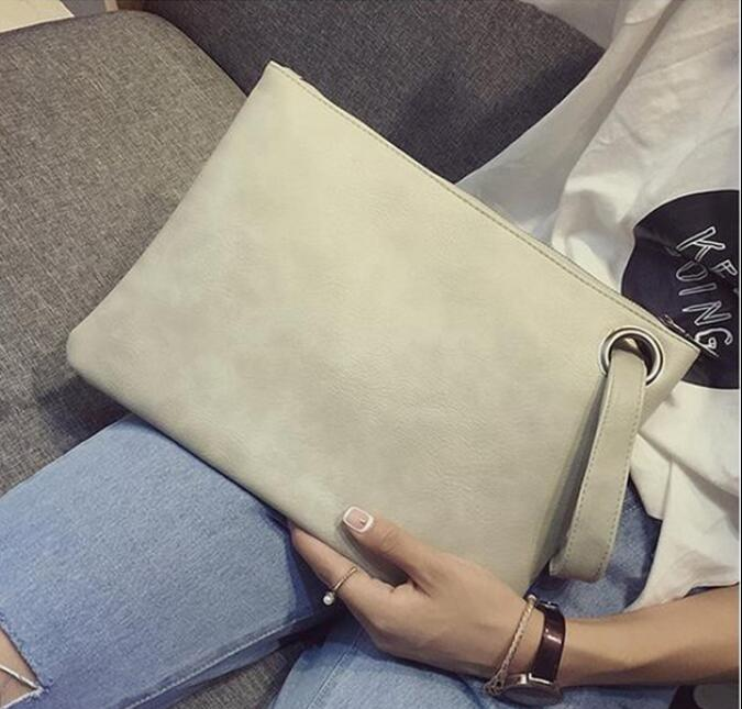 Costbuys  Fashion solid women's clutch bag leather women envelope bag clutch evening bag female Clutches High capacity Clutch ba