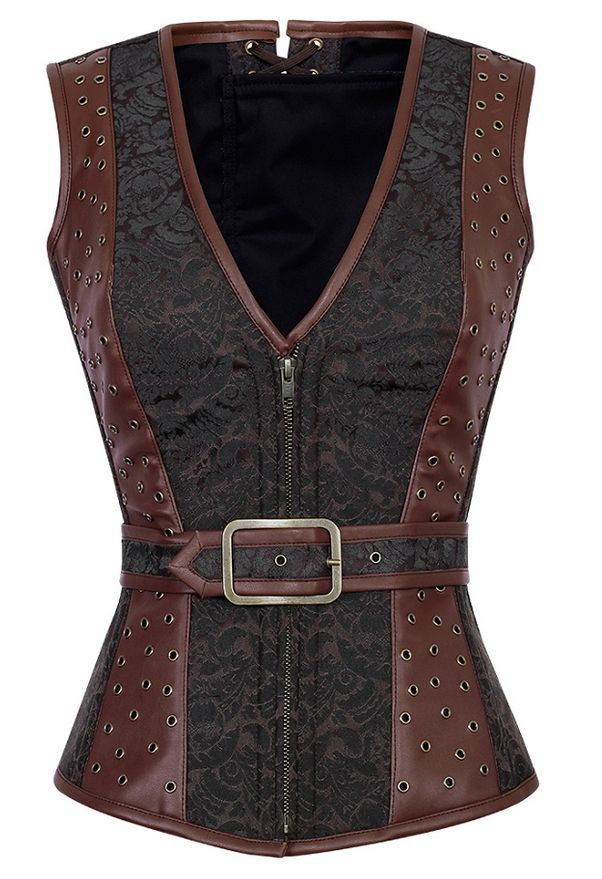 ed9fa04a72 Faux Leather Waist Trainer Corset Steampunk Latex Waist Trainer Vest F –  Costbuys