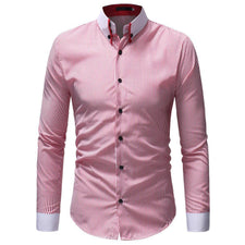 2018 Casual Shirts Men Oxford Slim Fit Shirt Men's Autumn Winter Casual Striped Print Long Sleeve Button Top Blouse /PY