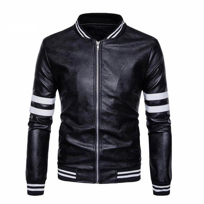 Baseball Leather Jacket Men Black White College Varsity Jacket Mens Pu Leather Jacket Spring Autumn Coat High Quality