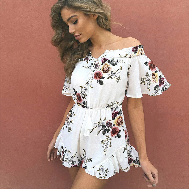 76f4e1a0a9 Sexy Off Shoulder White Floral Print Elegant Jumpsuit Romper Summer St –  Costbuys