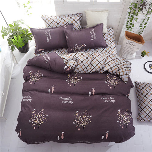 Costbuys  Floral Star Tree Checked Bedding Set Single Double Queen King Size Duvet Cover Quilt Cover Flat Sheet Pillow Cases 3pc