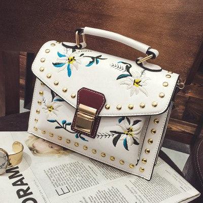 Costbuys  Floral embroidered bag luxury top-handle bags rivet crossbody bag brand designer handbags high quality shoulder strap