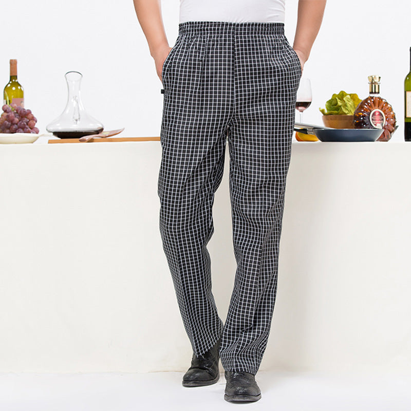 Costbuys  Food Service Uniforms Adjustable Waist Restaurant Pants Men and Women Chef Trouser Hotel Kitchen Mens Work Wear - Blac