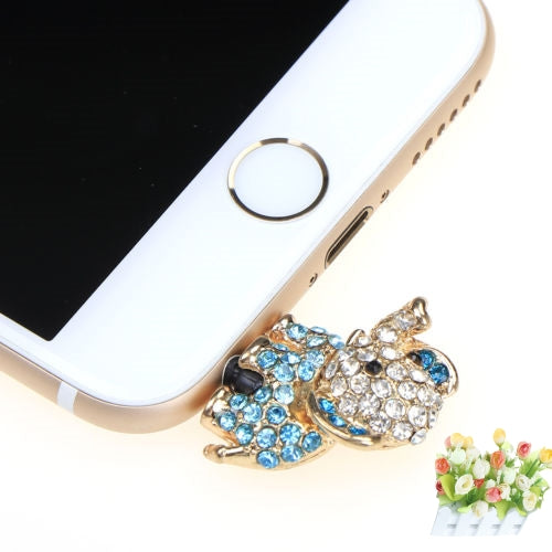 Costbuys  For Iphone For Samsung Cute Elephant dog With Diamond Dustproof Plug Caps Cell Phone Accessories 3.5mm Earphone Dust P