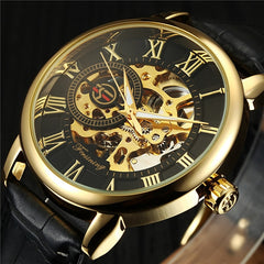3D Logo Design Hollow Engraving Black Gold Case Leather Skeleton Mechanical Watches Men Luxury Brand Heren Horloge