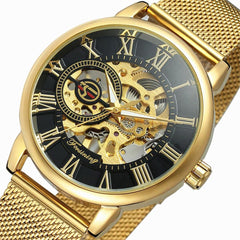 Transparent Case New Fashion 3D Logo Engraving Golden Stainless Steel Men Mechanical Watch Top Brand Luxury Skeleton