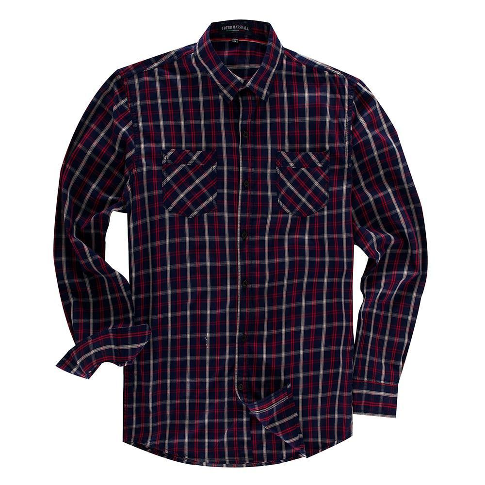 New Arrival Men's Striped Plaid Shirt Long Sleeve Casual Cotton Shirt