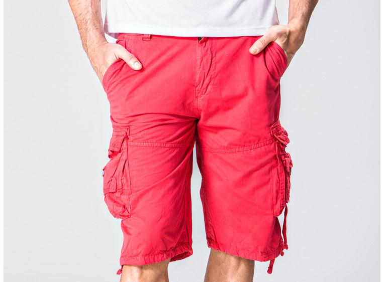 Costbuys  military mens shorts,summer safari style shorts,plus size.loose pockets knee length,quantity,no belt - Red / 34