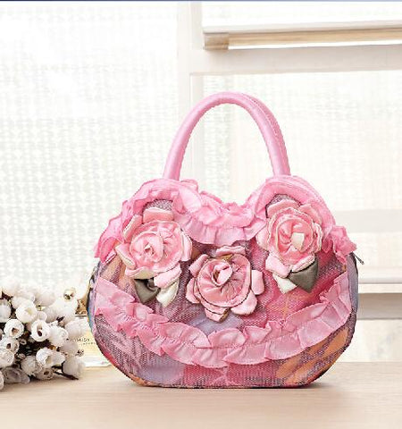 Vintage shell style gray felt woman's bag flowers patterns felt bag soft folding female hand bag
