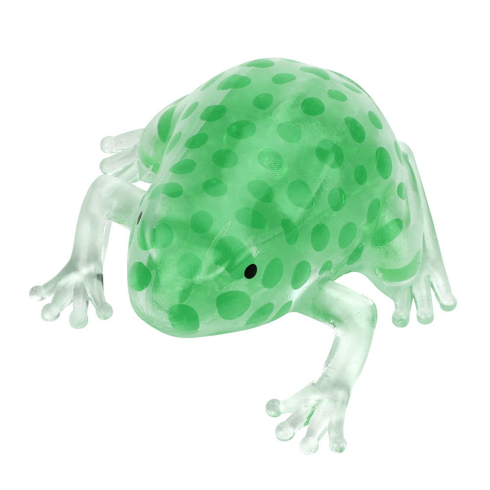 Costbuys  Funny Novelty 8cm Bead Stress Ball Sticky Squeeze Frogs Squeezing Stress Relief antistress gadgets toys - Green / Chin