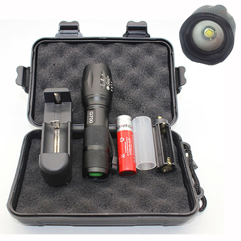 Costbuys  G700 set flashlight CREE XML T6 2300LM powerful led lamp lantern rechargeable torch 18650 charger police tactical led