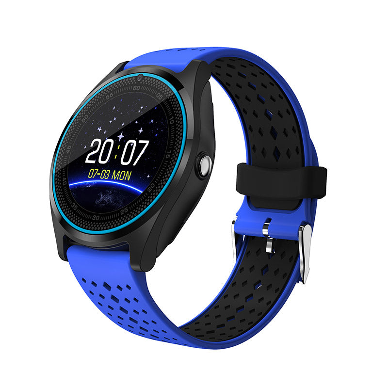 Costbuys  Smart Watch SIM Card Wristwatch for Android iPhone IOS Women Men Stop Watch Camera Sport Dial Call Clock - Blue