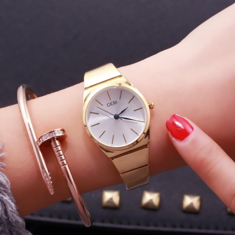 Costbuys  Cheap Stainless Steel Watch Rose Gold Bracelet Watch Fashion Luxury Women Dress Watch Gift Quartz Watch relogios - ros