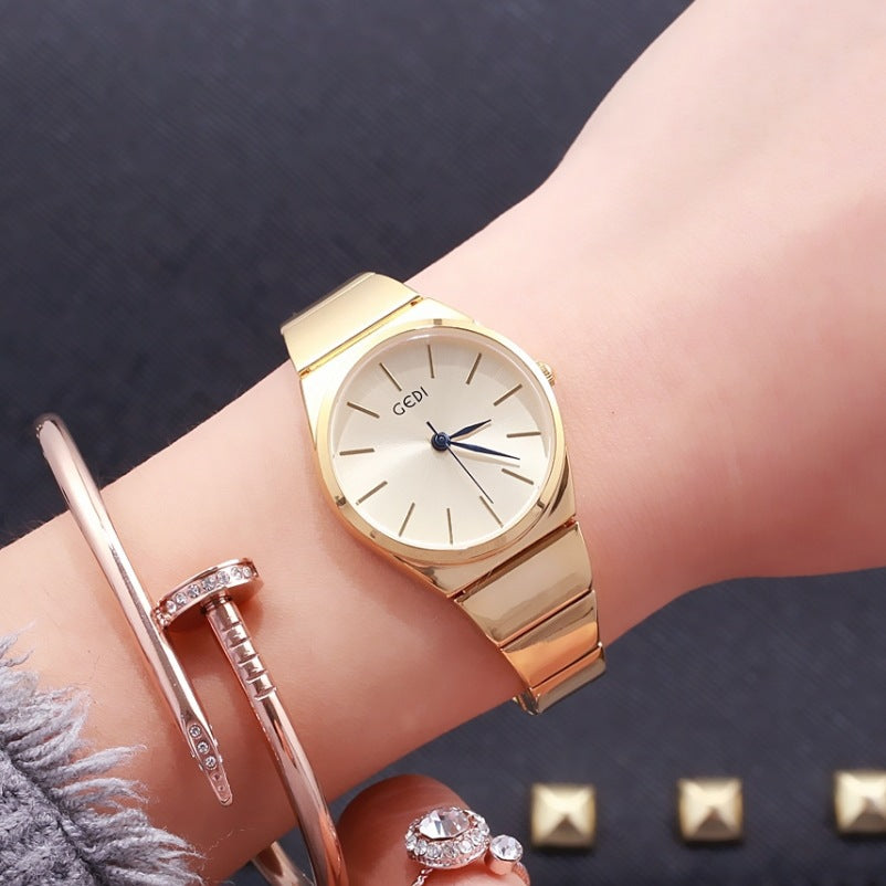 Costbuys  Cheap Stainless Steel Watch Rose Gold Bracelet Watch Fashion Luxury Women Dress Watch Gift Quartz Watch relogios - gol