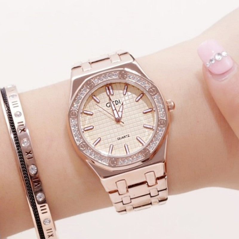 Costbuys  Gold Watch Women Luxury Brand Stainless Steel Quartz Watches Women's Fashion Diamond Crystal 30M Waterproof Watches Cl