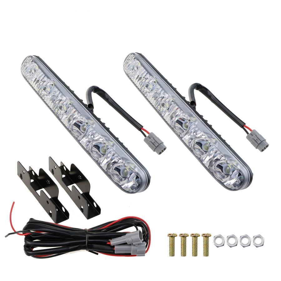 Costbuys  2PC 6LED DRL Car Styling Accessories Lights Hi/Lo Beam Universal Waterproof For Auto Fog Light Super Bright 12V 6000K