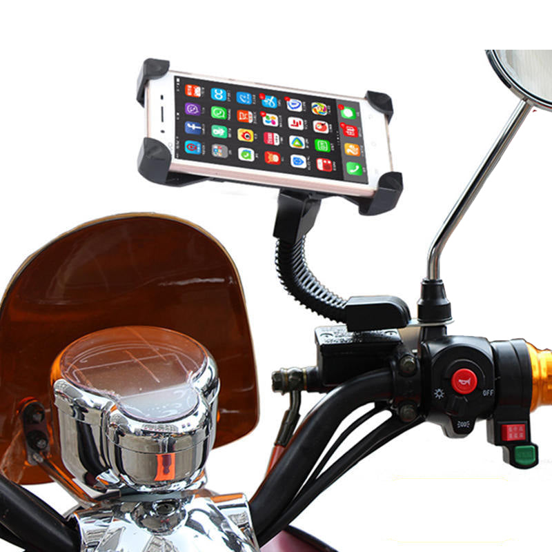 Motorcycle Cell Phone Rear View Mirror Stand Holder Motorbike Mount Long Arm Hose Stem Adjustable Grip for Moto/iPhone/LG