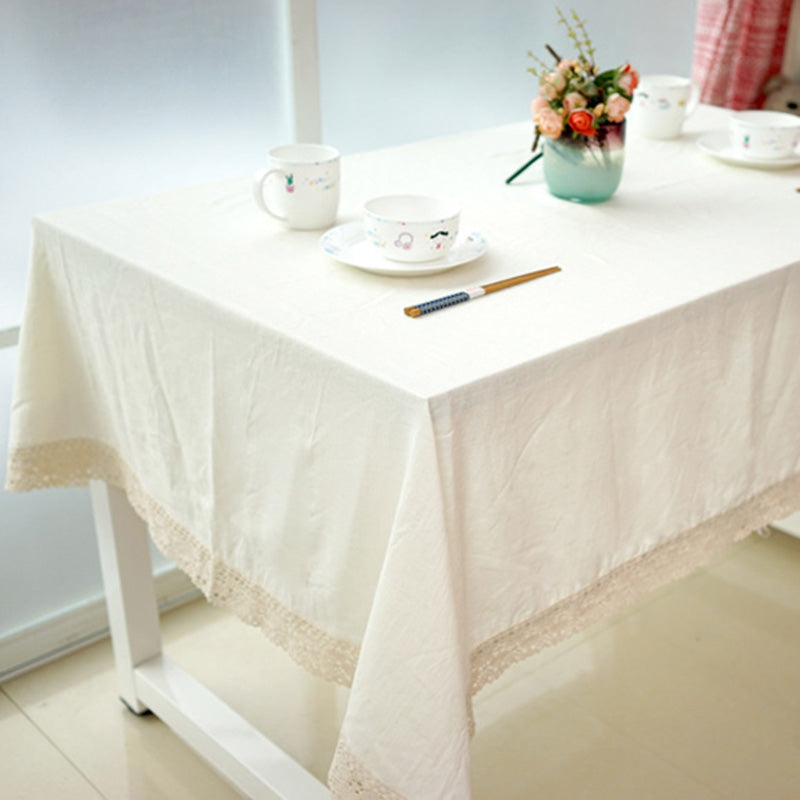 Costbuys  White Decorative Table Cloth Cotton Linen Lace Tablecloth Dining Table Cover For Kitchen Home Decor U1132 - White / 60