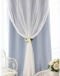Costbuys  Pink Dream Double Layer Tulle with Blinds Lining Window Curtains with Tassel Lace For Bed room Light Shading beige - B