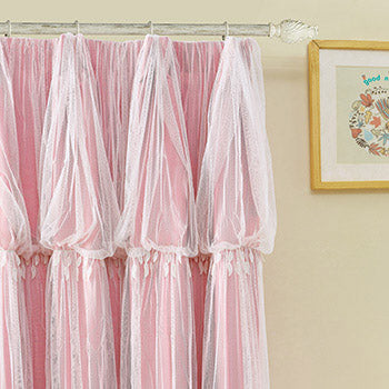 Costbuys  Pink Dream Double Layer Tulle with Blinds Lining Window Curtains with Tassel Lace For Bed room Light Shading beige - P