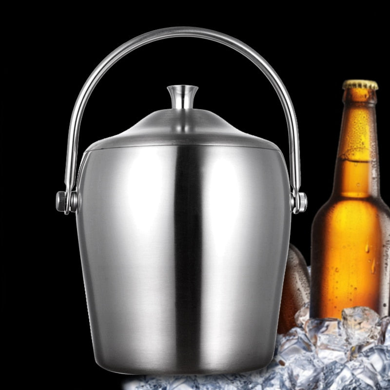 Costbuys  2L Double Layer Stainless Steel Ice Buckets Barware Kitchen Tools Beer Wine Champagne Cooling Barrel Cooler Kitchenwar