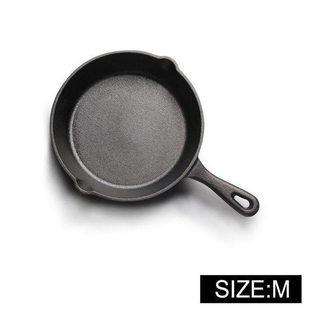 Costbuys  Cast Iron Non-stick 12-26CM Skillet Frying Pan for Gas Induction Cooker Egg Pancake Pot Kitchen&Dining Tools Cookware