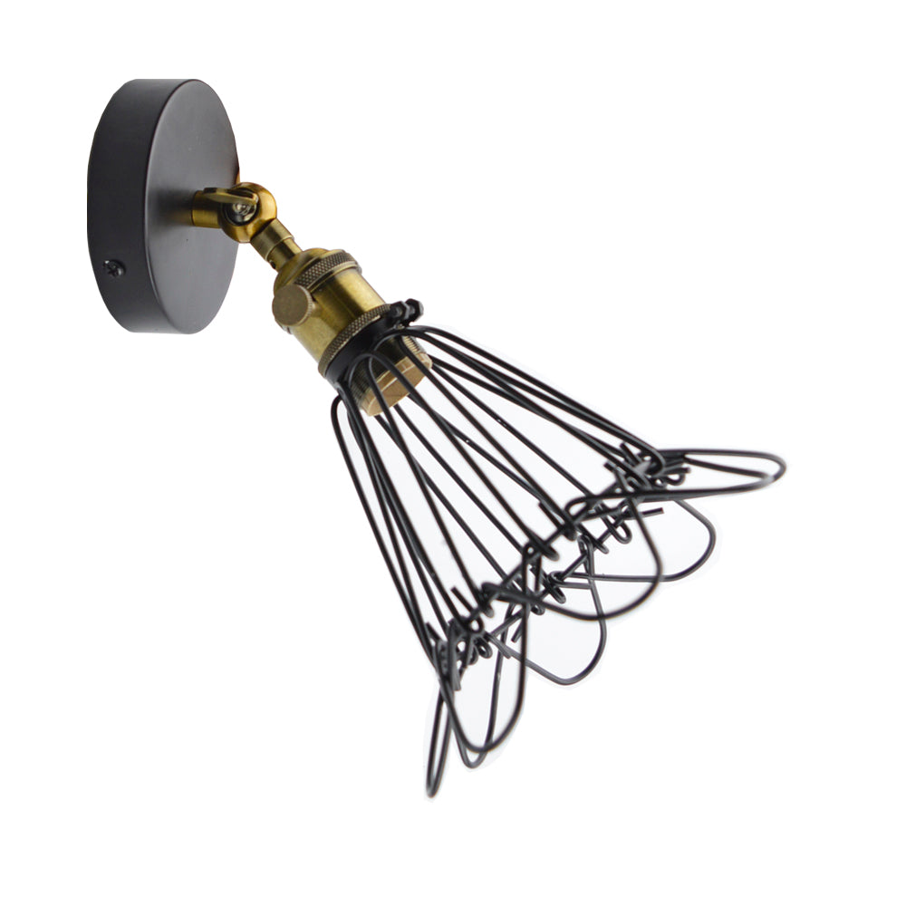 Costbuys  Sconce Metal Fixture Light Loft Corridor Home Lights Industrial Cage Ceiling Light Indoor Retro Black - 1 light 1 E27