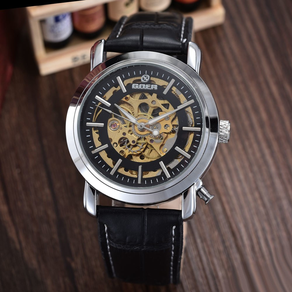 Costbuys  Men Watches Top Brand Luxury Automatic Mechanical Skeleton Watches PU Leather Fashion Men Watches relogio masculino -