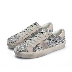 Spring Autumn Women Trainers Glitter Leather Do Old Dirty Shoes Mixed Color Woman Sequins Star Fleeces Shoes
