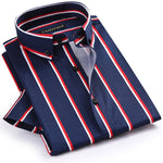 Summer Fashion 100% Cotton Smart Casual Men Shirts Men's Short Sleeve Thick Vertical Striped Shirt