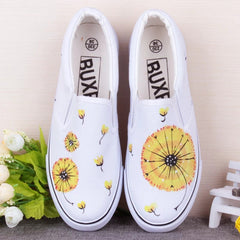 Gba Lavender Doodle Women Shoes Summer Flat Hand-Painted Canvas Girl Breathable Slip-On Casual Board SHoes