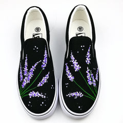 Gba Lavender Doodle Women Shoes Summer Flat Hand-Painted Canvas Girl Breathable Slip-On Casual Board SHoes 1