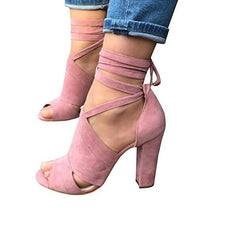 Ladies Sexy Lace Up Woman Summer Chunky High Heels Women Ankle Strap Shoes Sandals Pumps Open Toe