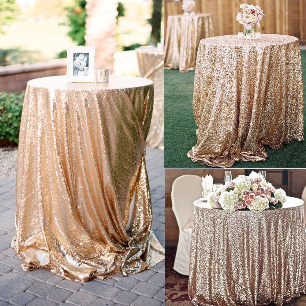 Glitter Sequin Tablecloth Rectangular Round Rose Gold Silver Table Cloth  Rose Gold For Wedding Party Christmas