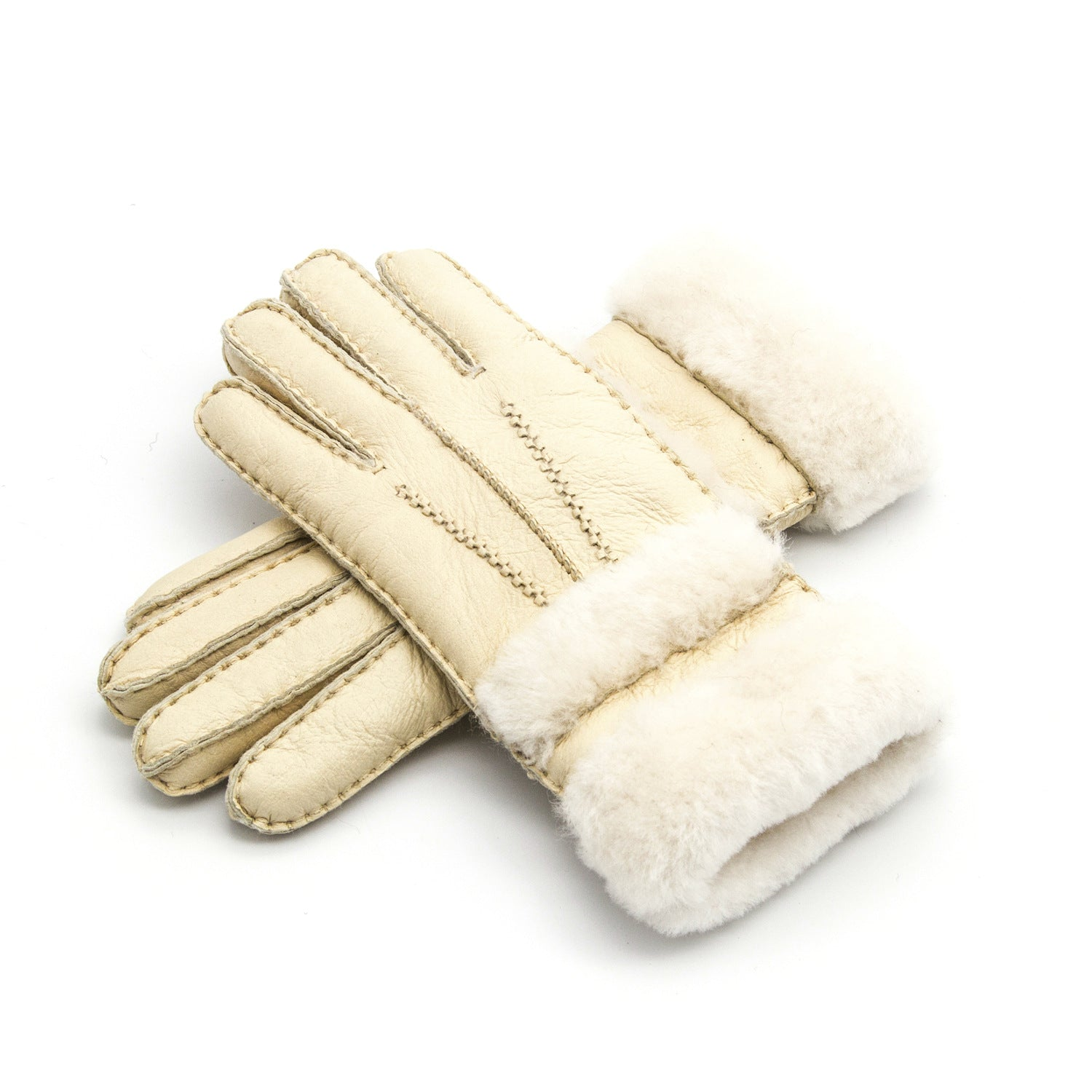 Costbuys  Gloves Women'S Mitten Winter Warm Fur Leather Thick Glove Sheepskin Casual Wool Clothing Accessories Apparel Plaid Woo