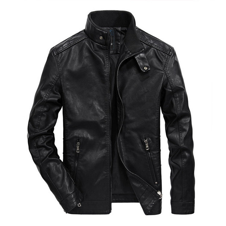 Costbuys  Leather Jacket Men Stand Collar Autumn Classical Motorcycle Jacket Leather Men Faux Leather Jacket Male - Black / XL