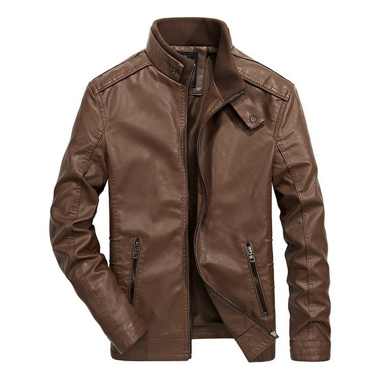 Costbuys  Leather Jacket Men Stand Collar Autumn Classical Motorcycle Jacket Leather Men Faux Leather Jacket Male - Brown / XL