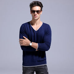Autumn 100% Cotton V-neck Sweater Men  Clothing Slim Fit Pullover Men Knitted Men's Sweaters And Pullovers