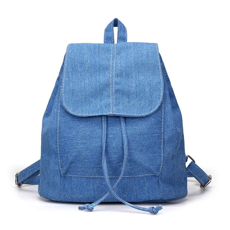 Costbuys  New Canvas Women Backpack Drawstring School Bags For Teenagers Girls Small Backpack Female Rucksack(Blue) - Blue