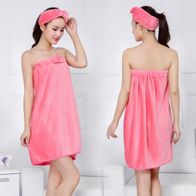 Costbuys  Bowknot Women Bath Towel Bath Robe Bathrobe Body Spa Bath Bow Wrap Towel Headband Set Super Absorbent Bath Gown - 02