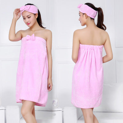 Costbuys  Bowknot Women Bath Towel Bath Robe Bathrobe Body Spa Bath Bow Wrap Towel Headband Set Super Absorbent Bath Gown - 01