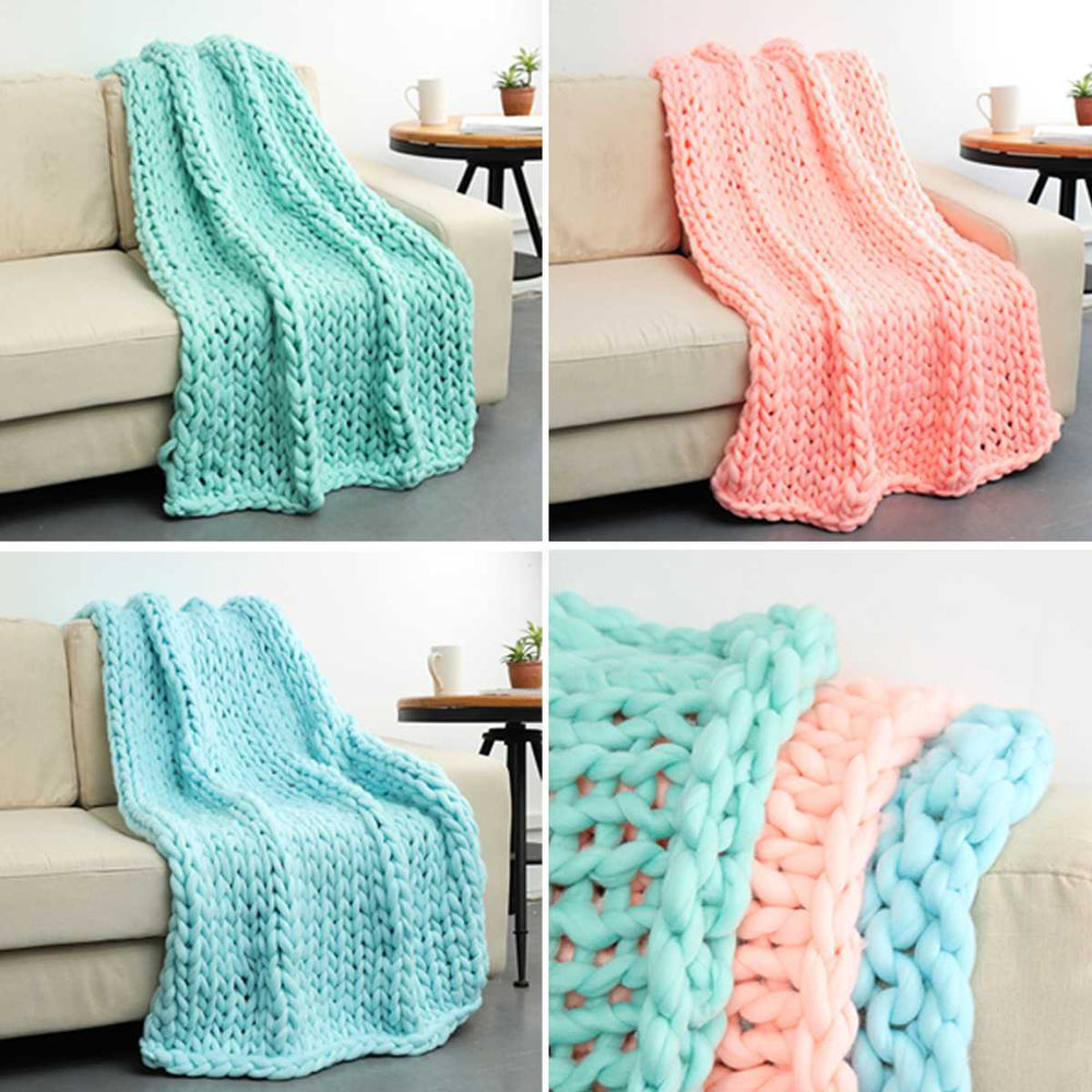 Warm Winter Sofa Blanket Handmade Thick Line Bulky Knitted Throw Bedding Thick Knitting Blankets Home Decor