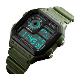 Mens Outdoor Compass Sports Electronic Watch Fashionable Waterproof Step Counter Adventure Compass Sports Watch