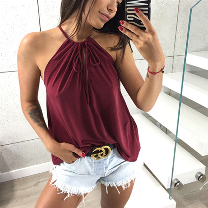 Women Sexy Halter Top Sleeveless Tank Casual Vest Womens Tank Tops Cotton