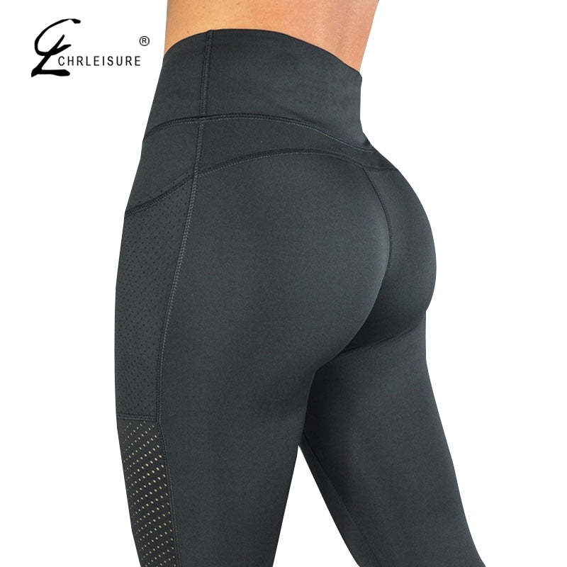 Pocket Leggings High-Waisted Feminina Solid S-L Breathable Womens Leggings Pants