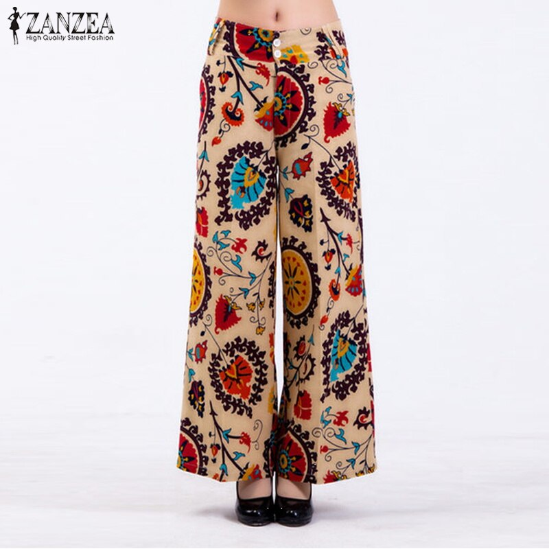 Leg-Pants Floral-Printed Pantalon Robe Long-Trousers Zipper Straight Wide Casual Womens Pants Full Length Pants